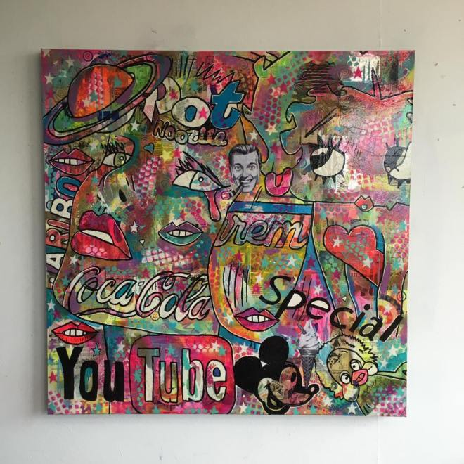 %22Hocus Pocus%22 by Barrie J Davies 2016, mixed media on canvas 90cm x 90cm