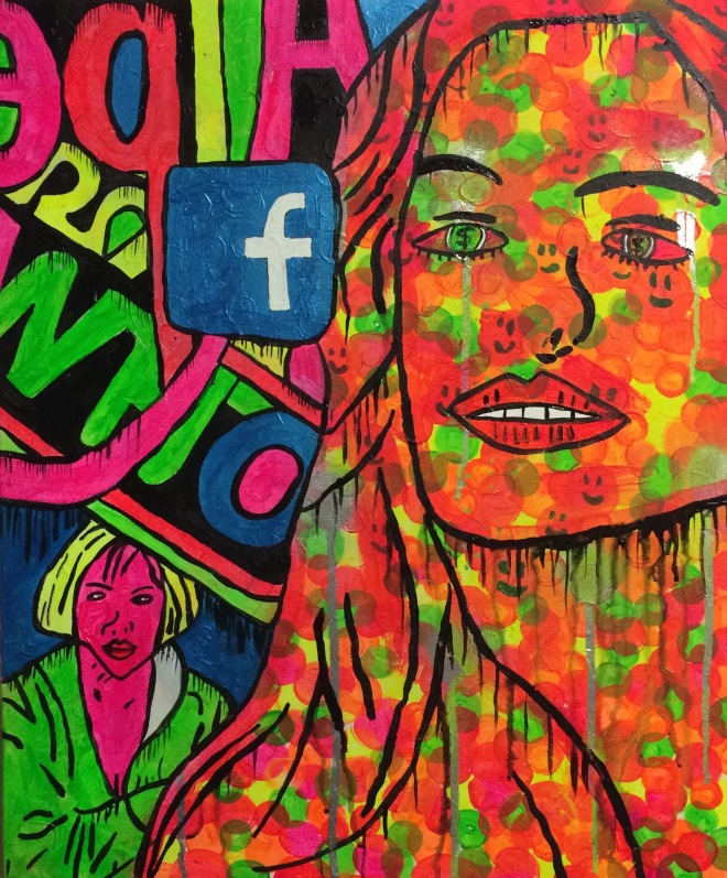 Urban Space woman by Barrie J Davies 2015, Acrylic on Canvas 50cm x 60cm