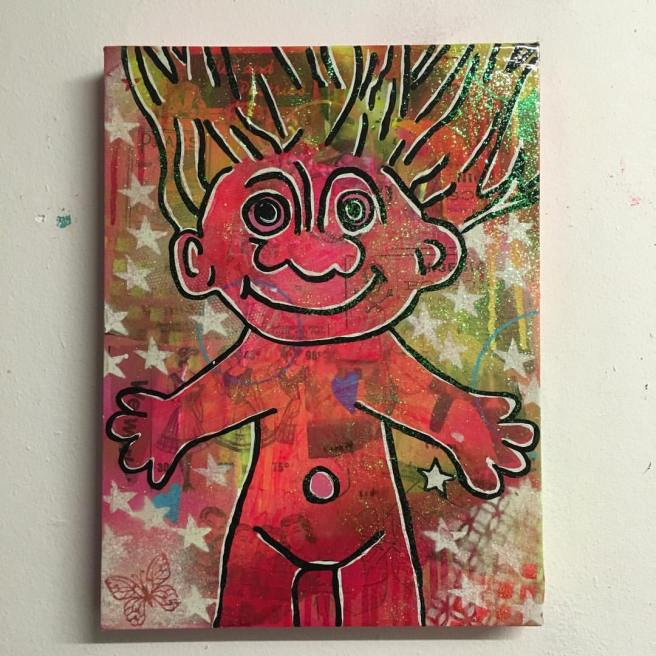 """""""Reprise"""" by Barrie J Davies 2016, mixed media on canvas, 25cm x 35cm"""