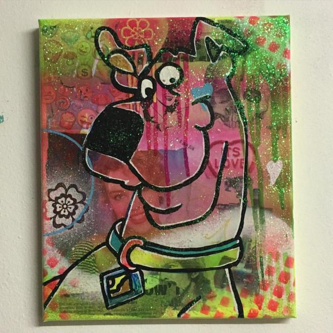 """""""Tick tick boom"""" by Barrie J Davies 2016, mixed media on canvas, 20cm x 30cm"""